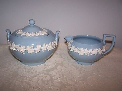Embossed Wedgwood Blue With White Queens Ware Creamer And Covered Sugar Set