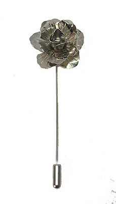 Silver Handmade Metal Flower / Rose Lapel Pin, Buttonhole, Corsage, Boutonniere