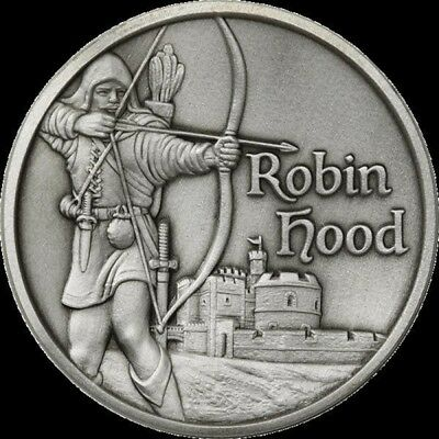 Robin Hood 2 oz .999 Silver Ultra High Relief Antiqued Finish USA Made Round