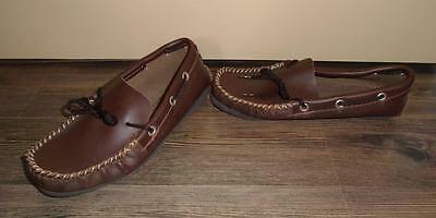 CHILD'S VTG 1970s DARK BROWN MOCCASINS HOUSE SHOES SLIPPERS SIZE 3 NOS