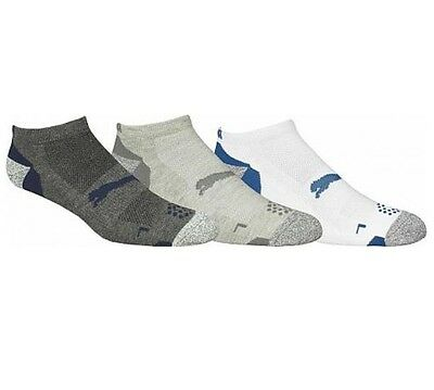 NEW Puma Golf 3 Pack Low Cut Golf White/Gray/Dark Gray Socks Men's 9-12