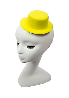 """Mini Top Hat Fascinator Base -  5"""" Diameter with Hair Clips - Yellow"""
