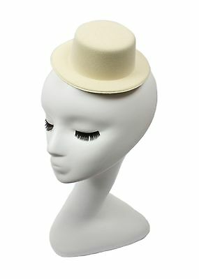 """Mini Top Hat Fascinator Base -  5"""" Diameter with Hair Clips - Ivory"""
