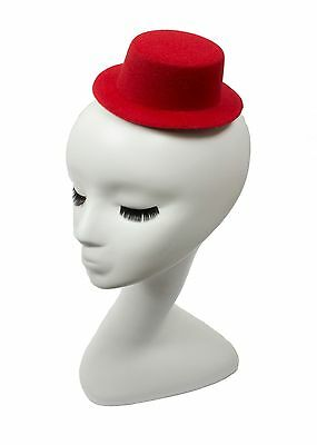 """Mini Top Hat Fascinator Base -  5"""" Diameter with Hair Clips - Red"""