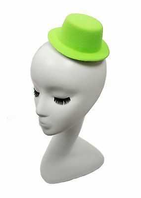 """Mini Top Hat Fascinator Base -  5"""" Diameter with Hair Clips - Green"""