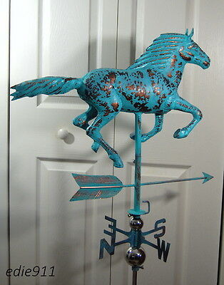 LARGE RUNNING HORSE 3D Weathervane AGED COPPER PATINA FINISH Handcrafted NEW