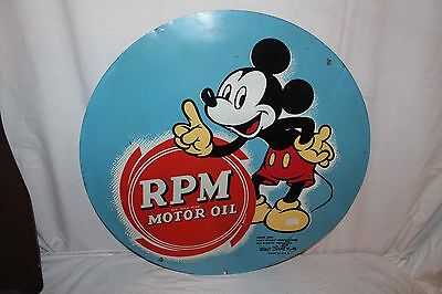 "Rare Vintage 1939 RPM Motor Oil With Mickey Mouse Gas Station 24"" Metal Sign"