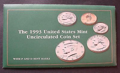 1993-P+D New Ten Coin Uncirculated Mint Set From Original Sealed Shipping Box,