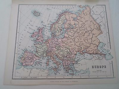 Antique Map 1890 ~ EUROPE - From Philips Atlas For Beginners  §2