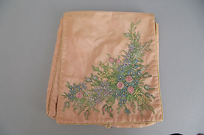 Vintage 20s 30s heavily embroidered lingerie bag