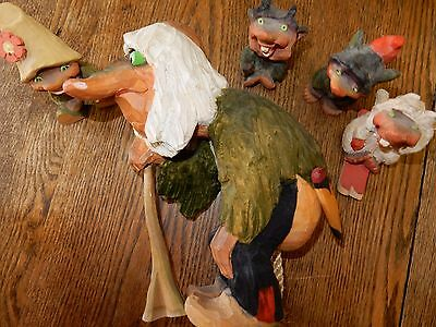 "HENNING  Norway Vintage Hand Carved Trolls 5, 1 9.5"" and 4 from 3 inches to 4.25"