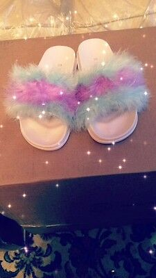 Furry slide in shoes in size
