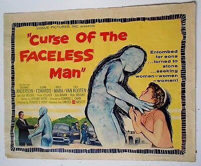 Curse of the Faceless Man half-sheet movie poster famous horror monsters mummy
