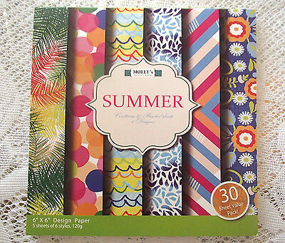 """Pack of 30 sheets of MOLLYS 6 inch x 6 inch Scrapbook paper """"Summer"""""""