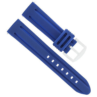 26Mm Pam Rubber Watch Band Diver Strap For Swiss Legend Militare Silicone Blue