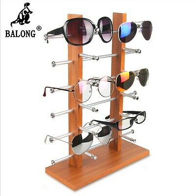 Portable Wood 8/10 /12 pairs glasses display rack holder stand for Sun Glasses