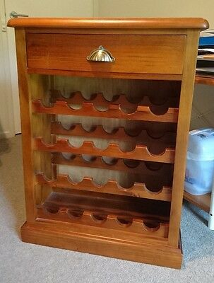 Solid Timber Wine Rack With Drawer