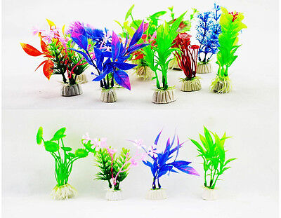 10 Mixed Artificial Aquarium Fish Tank Water Plant Plastic Decoration Ornament