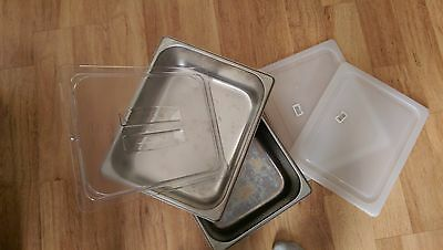 2 - Half Size 4 inch Deep - Stainless Steel Steam Table Pans + LIDS