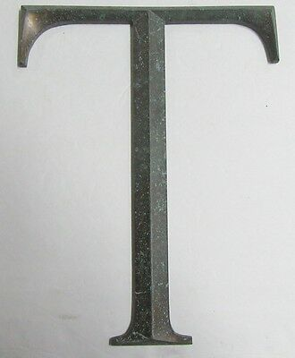 Cast Bronze Letter T Sign Vintage Architectural 14 Inches Tall