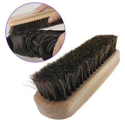 Pro Horse Hair Brush Shoe Polish Boot Polishing Care Clean Buffing Shine Bristle