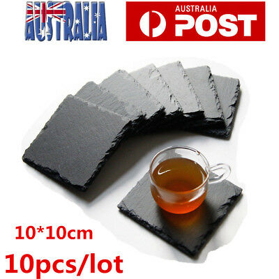 Set of 10 Natural Slate Stone Cup Drinks Mats Coaster Holder Tableware Place Mat