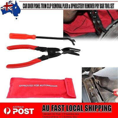 Car Door Panel Trim Clip Removal Plier & Upholstery Remover Pry Bar Tool Set Bby