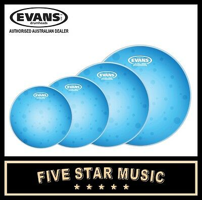 """Evans Hydraulic Blue 4 Pce Drum Skin Set With Coated Snare 10"""" 12"""" 14"""" 16"""" Heads"""
