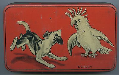 "C.1930's Australian Confectionery Allen's Tin Comical ""scram"" Dog & Cockatoo."