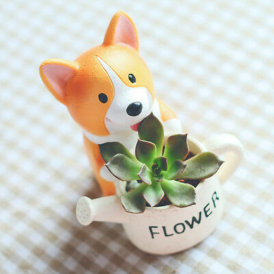 Cartoon Corgi Dog Resin Small Flower Pot Figurine Figure B