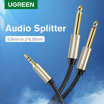 "UGREEN 3.5mm 1/8"" TRS to 6.35mm 1/4"" TS Mono Y-Cable Splitter For Amplifer iPod"
