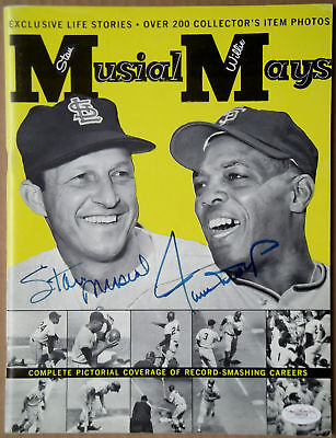 WILLIE MAYS STAN MUSIAL Dual Signed Rare 1963 Magazine Giants Cardinals HOF JSA