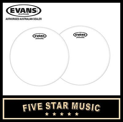 "EVANS 14"" TOM DRUM SKIN SET G1 CLEAR RESONANT AND G2 CLEAR  BATTER 2 x 14"" HEADS"