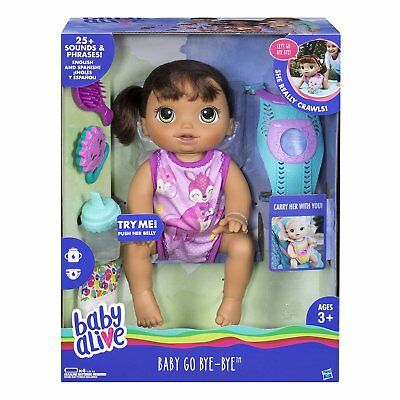 Baby Alive Go Bye Bye Blonde Interactive Doll NEW Talking Crawling Drinking