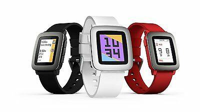 Pebble Time Smartwatch for Apple or Android Black White or Red NEW
