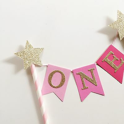 Bunting Cake Topper 1st Birthday Baby Girl Pink Ombré With Gold Glitter Stars