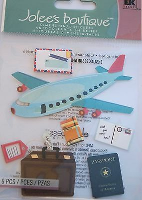 JOLEE'S BOUTIQUE AIRPLANE TRAVEL Vacation Plane Trip Scrapbook Craft Sticker