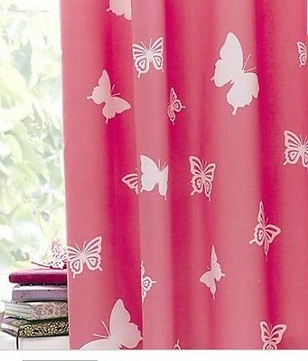 GIRLS BEDROOM BUTTERFLY PINK WHITE BLACKOUT LINED CURTAINS WITH TIE BACKS 66x54""