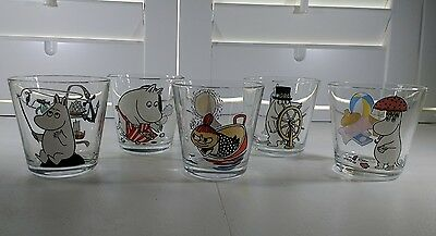 Tove jansson -  Moomins Glass Votive Tealight Holders - Hand Painted - Italy