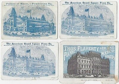 Four 1870s Boston Massachusetts Piano Dealer Cards - Flaherty, Grand Square