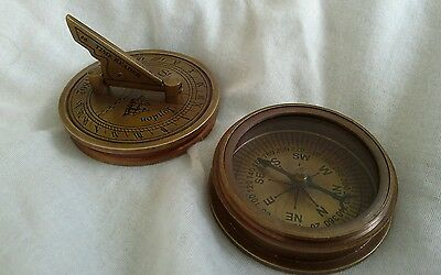 BRASS POCKET SUNDIAL COMPASS. Antique finish. Reproduction.