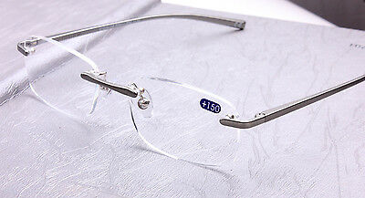 Rimless Reading Glasses Unisex Women Men Readers Eyeglass Aluminum Alloy 1.0-3.5