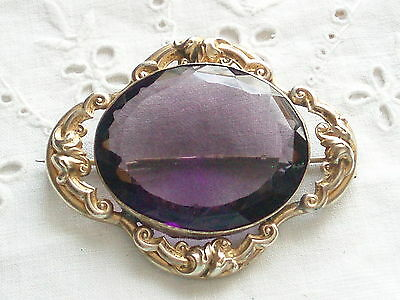 Large Victorian Edwardian Rolled Gold & Amethyst Brooch