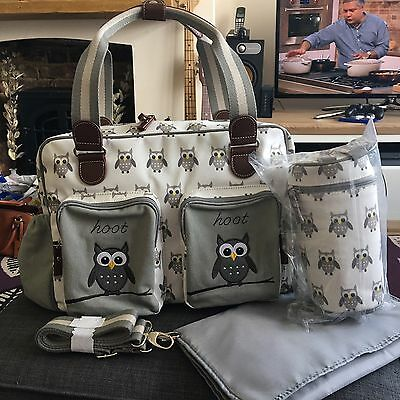 Baby Changing Bag Grey Bottle Holder Mat Owl Luxury Deluxe