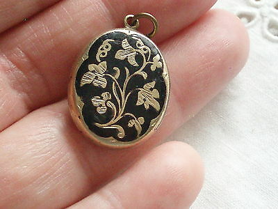 Antique Victorian Black Enamelled Forget Me Not Flower Photo Locket Pendant