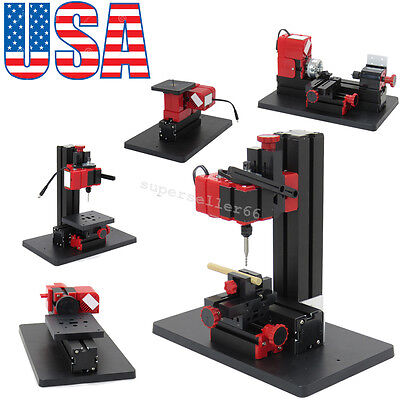 Multifunction Jigsaw Drilling Sanding Wood-turning Lathe Milling Machine 6in1 US