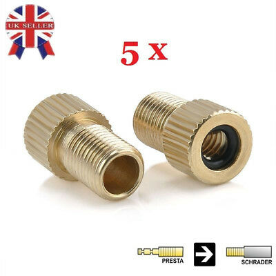 5X Presta To Schrader Valve Adapter Converter Road Bike Cycle Bicycle Pump Tube