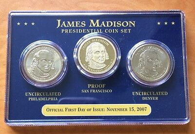 United States James Madison Proof & Unc 3x $1 Coin Set