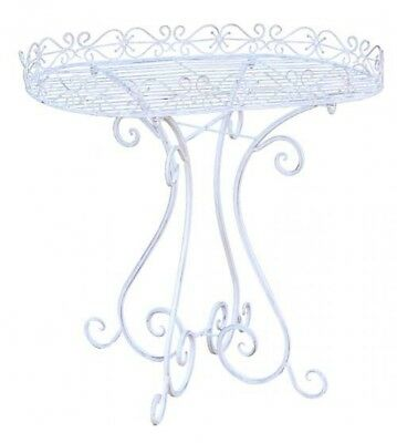 French Country Vintage Inspired Wrought Iron WHITE OVAL STAND Bathroom, Laund...