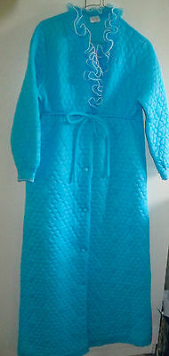 Vintage Target Blue Dressing Gown Robe Size 14 Nylon Australia With Belt